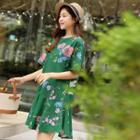 Round-neck Floral Print Linen Blend Dress