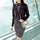 Striped Long-sleeve Mock Neck Ribbed Dress