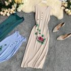 Printed Sleeveless Knit Midi Dress