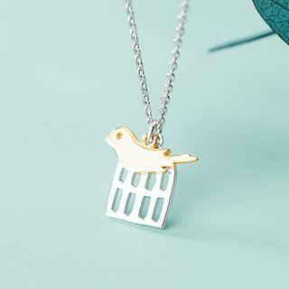 Bird Pendant Necklace Silver - One Size