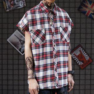 Plaid Cap-sleeve Shirt