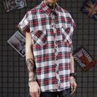 Plaid Cap-sleeve Shirt