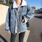 Washed Fleece-lined Denim Jacket