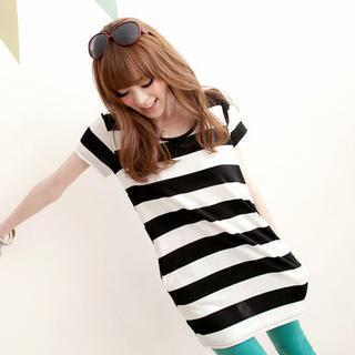 Short-sleeve Striped Long T-shirt