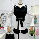 Set Of 3: Blouse + Vest + Shorts
