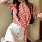 Short-sleeve Plaid Wrapped Top