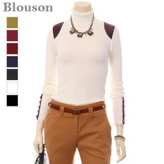 Turtle-neck Contrast-trim Knit Top