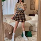 Boxy-pleated Plaid Mini Skirt