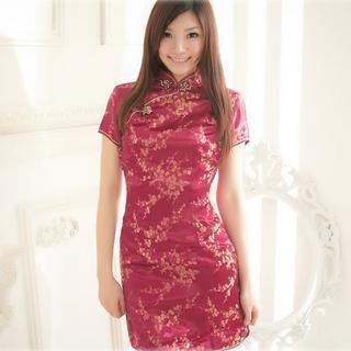 Short-sleeve Floral Cheongsam