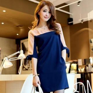 Color-block Chiffon Dress