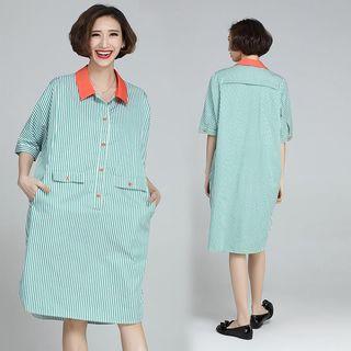 Elbow-sleeve Striped Shirt Dress