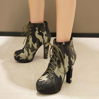 Chunky Heel Platform Lace-up Camo Print Short Boots