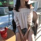 Off-shoulder Elbow-sleeve Top White - One Size