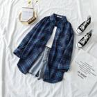 Plaid Long-sleeve Loose-fit Shirt / Plain Camisole Top