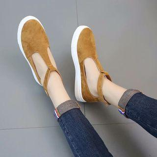 Faux Suede T-bar Flats