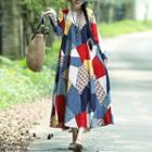 Long-sleeve Patterned Maxi A-line Dress
