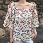 Off-shoulder Cherry Print Elbow-sleeve Top