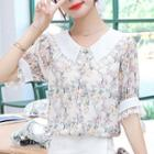 Short-sleeve Floral Print Lace Trim Chiffon Blouse