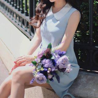 Sleeveless Contrast Collar Dress