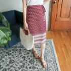 Pattern-print Wrap Skirt
