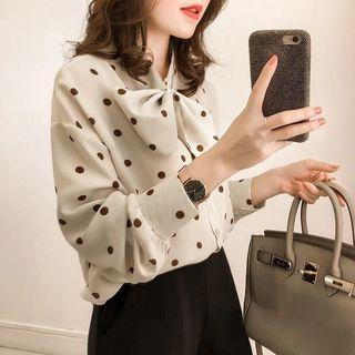 Dotted Bow Accent Chiffon Blouse