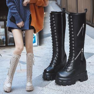 Hidden Wedge Platform Lace-up Knee-high Boots