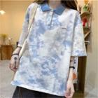 Short-sleeve Tie-dyed Polo Shirt