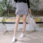 Frilled Gingham Mini Skirt
