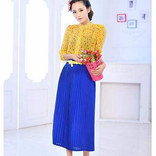 Pleated Maxi Skirt With Belt