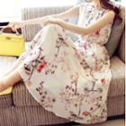 Floral Print Sleeveless Maxi A-line Chiffon Dress