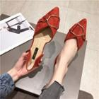 Buckled Faux Suede Pointed Flats