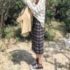 Midi Sheath Plaid Skirt