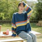 Striped Sweater Blue & Orange & Yellow - One Size