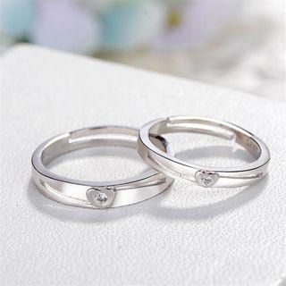 Couple Matching Rhinestone Heart Open Ring