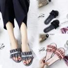 Ruffle Accent Slide Sandals