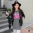 Striped Lettering Long Top