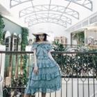 Floral Off Shoulder Sleeveless Midi Chiffon Dress