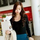 Long-sleeve Ribbed Knit Top