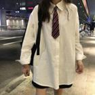 Plain Shirt With Tie White - One Size