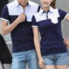 Couple Matching Dotted Color Panel Short Sleeve Polo Shirt