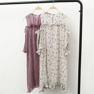 Floral Print Cutout Shoulder Short-sleeve Chiffon Dress