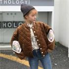 Quilted Buttoned Baseball Jacket