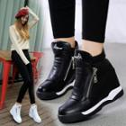 Applique Hidden Wedge Ankle Boots