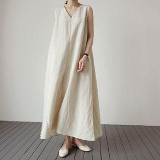 V-neck Sleeveless Maxi Shift Dress As Shown In Figure - One Size