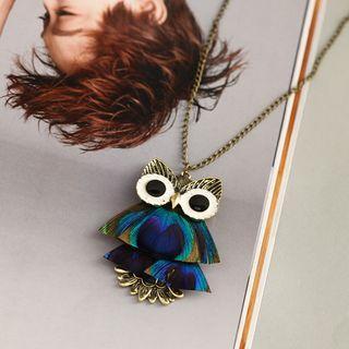 Owl Necklace Owl - Green & Dark Blue - One Size