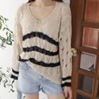 Open-knit Stripe Knit Top