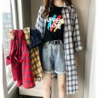 Long Sleeve Plaid Long Shirt