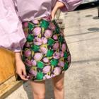 Floral Jacquard Miniskirt