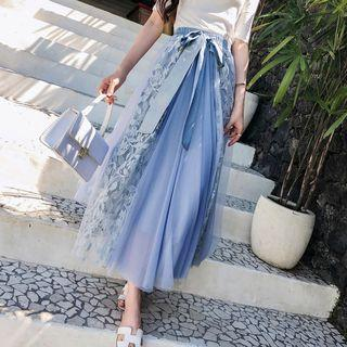 Mesh Panel Lace Maxi A-line Skirt