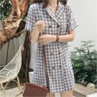 Double-breasted Plaid Shirtdress